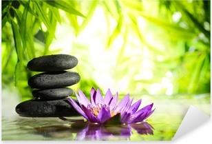 Pixerstick Aufkleber Spa Stilleben mit Lotus und Zen-Stein auf dem Wasser
