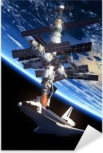 Pixerstick Aufkleber Space Shuttle und Raumstationp
