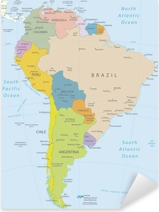 Pixerstick Aufkleber Südamerika-sehr detaillierte map.Layers verwendet.p