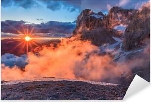 Pixerstick Aufkleber Suset in Dolomiten, Italienp