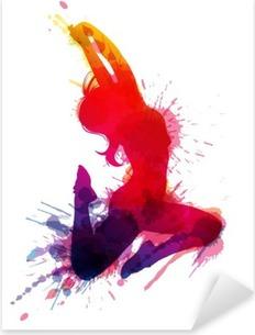 Pixerstick Aufkleber Tanzen Mädchen mit Grunge-Spritzerp
