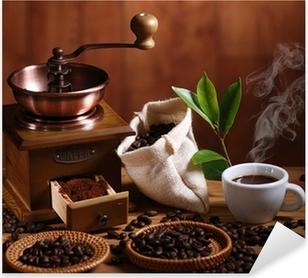 Pixerstick Aufkleber Tasse Espresso Kaffeemühle mit Holz