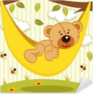 Pixerstick Aufkleber Teddybär auf Hängematte - Vektor-Illustration