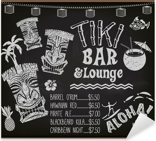 Pixerstick Aufkleber Tiki Bar und Lounge-Cocktail-Menü-Tafelp