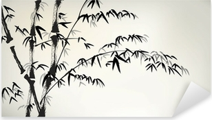 Pixerstick Aufkleber Tinte gemalt Bambus