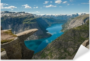 Pixerstick Aufkleber Trolltunga, Troll Zunge Felsen, Norwegen