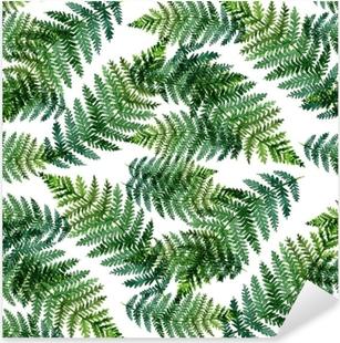 Pixerstick Aufkleber Tropisches Aquarellzusammenfassungsmuster mit Farnblättern