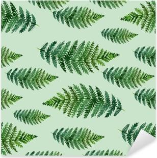 Pixerstick Aufkleber Tropisches Aquarellzusammenfassungsmuster mit Farnblätternp