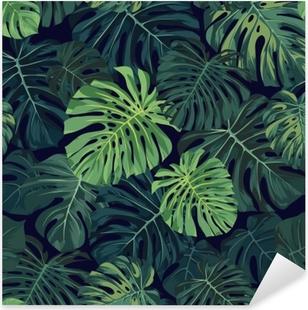 Pixerstick Aufkleber Tropisches Muster des nahtlosen Vektors mit grünen monstera Palmblättern auf dunklem Hintergrund. exotisches hawaiianisches Stoffdesign.