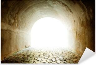 Pixerstick Aufkleber Tunnel mit Licht von der Ausfahrt kommen.