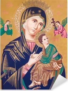 Pixerstick Aufkleber Typische katholische Bild der Madonna mit dem Kind (Our Lady of Perpetual Help)p