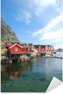 Pixerstick Aufkleber Typische rorbu Dorf auf den Lofoten in Norwegen