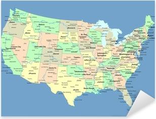 Pixerstick Aufkleber USA-Karte mit Namen von Staaten und Städte