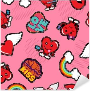 Pixerstick Aufkleber Valentinstag soziale Liebe Emoji Patch Hintergrundp