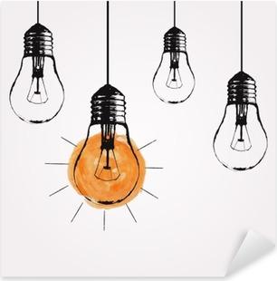 Pixerstick Aufkleber Vector Grunge Illustration mit Glühbirnen und Platz für Text hängen. Moderne Hipster Skizze Stil. Einzigartige Idee und kreatives Denken Konzept.