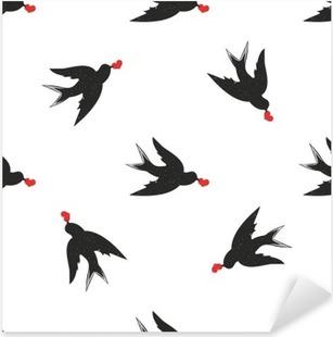 Pixerstick Aufkleber Vektor nahtlose Muster mit Hand Vintage-Stil schwarze Schwalben und Herz gezeichnetp