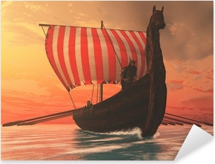 Pixerstick Aufkleber Viking Mann und Langschiff