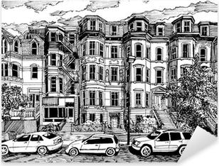 Pixerstick Aufkleber Viktorianischen Stadthäusern Vorderansichtp