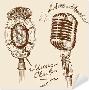 Pixerstick Aufkleber Vintage-Mikrofon doodlesp