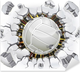Pixerstick Aufkleber Volleyball und alten Putz Wand Schaden. Vektor-Illustration