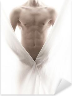Pixerstick Aufkleber Vor einem teilweise nackten männlichen Körperp