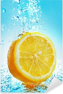 Pixerstick Aufkleber Water splash on lemon