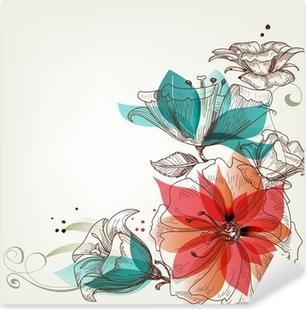 Pixerstick Aufkleber Weinlese-Blumen Hintergrund