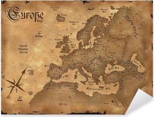 Pixerstick Aufkleber Weinlese-Europa-Karte horizontal