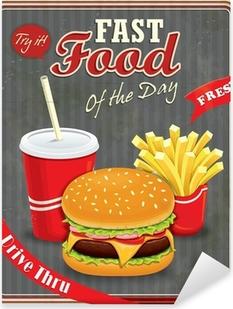 Pixerstick Aufkleber Weinlese-Fast-Food-Plakatentwurf mit Burger, Pommes Frites