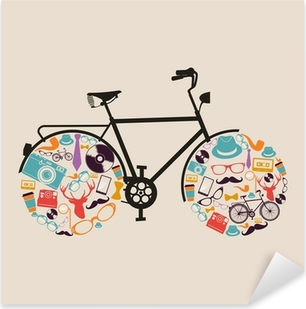 Pixerstick Aufkleber Weinlese-Hipster-Icons Fahrrad.p