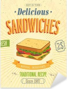 Pixerstick Aufkleber Weinlese Sandwiches Poster. Vektor-Illustration.