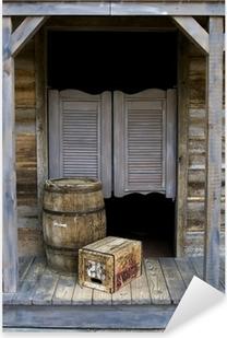 Pixerstick Aufkleber Western Style Saloon mit Fass-und Box