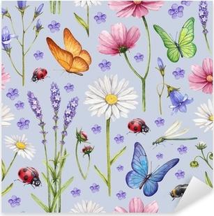 Pixerstick Aufkleber Wilde Blumen und Insekten Illustration. Aquarell-Sommer-Musterp