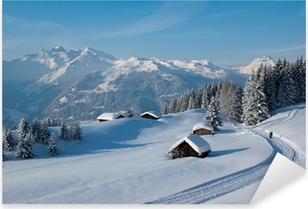 Pixerstick Aufkleber Winterwanderung in den Alpen
