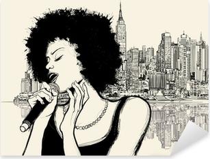 Autocolante Pixerstick afro american jazz singer