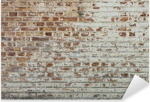 Autocolante Pixerstick Background of old vintage dirty brick wall with peeling plaster