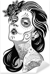 Autocolante Pixerstick Black and White Day of Dead Girl Vector Illustration