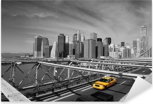 Autocolante Pixerstick Brooklyn Bridge Taxi, New York