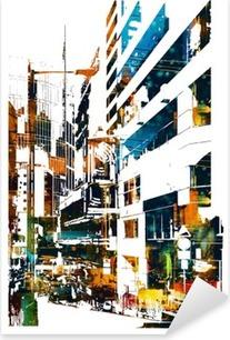 Autocolante Pixerstick Cidade moderna urbana, pintura ilustração