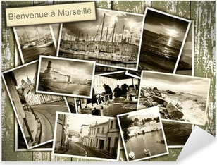 Autocolante Pixerstick collage views of Marseille, black and white photos on a wooden b