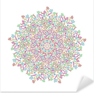 Autocolante Pixerstick Colorful Mandala Element with Heart and Flower Silhouettes