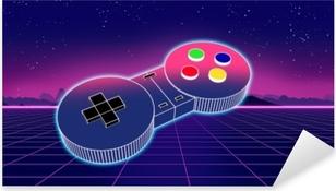 Autocolante Pixerstick Controlador de jogo retro na ilustração 3d de fundo colorido