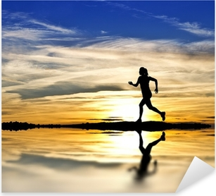 Autocolante Pixerstick corriendo por la orilla del lago