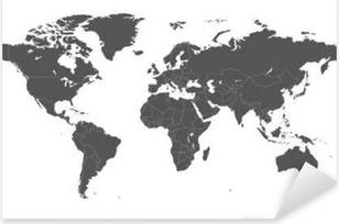 Autocolante Pixerstick Em branco cinza mapa do mundo político isolado no fundo branco. template Worldmap do vetor para o site, infográficos, design. Terra mapa do mundo Ilustração plana.