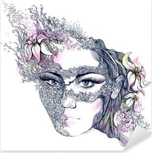 Autocolante Pixerstick floral decorated face