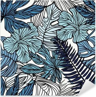 Autocolante Pixerstick Flores exóticas tropicais e plantas com folhas verdes da palma.