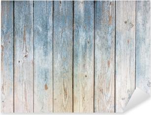 Autocolante Pixerstick Fundo azul da madeira do vintage