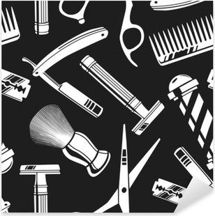 Autocolante Pixerstick Fundo sem emenda do teste padrão com ferramentas de barbeiro do vintage