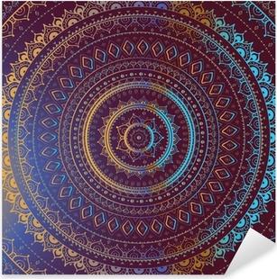 Autocolante Pixerstick Gold Mandala. Indian decorative pattern.