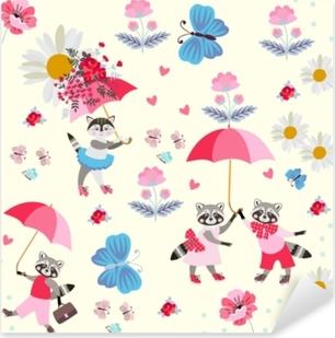 Autocolante Pixerstick Guaxinins e gatinhos pequenos engraçados com guarda-chuvas cor-de-rosa, borboletas, flores e corações isolados na luz - fundo amarelo. padrão sem fim para as crianças. vector primavera ou design de verão.